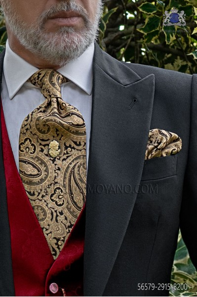 Black and gold paisley pattern tie and handkerchief