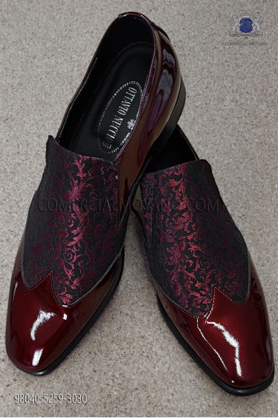 Black and red jacquard fabric shoe