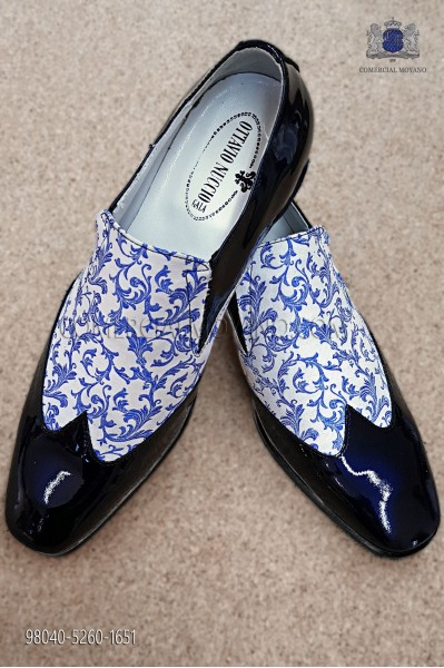 White and blue jacquard fabric shoe