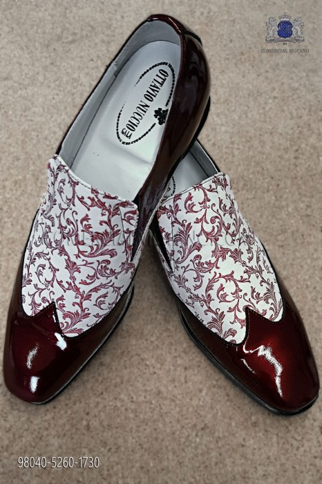 White and red jacquard fabric shoe