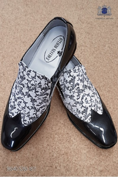 White and black jacquard fabric shoe