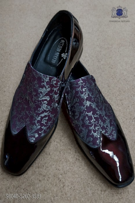Purple and silver jacquard fabric shoe