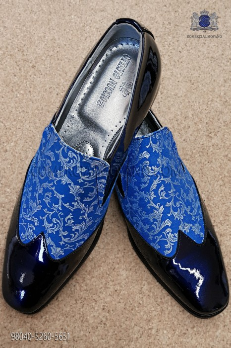 Blue and silver jacquard fabric shoe