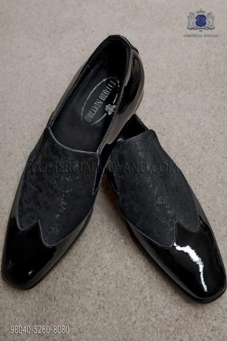 Black jacquard fabric shoe