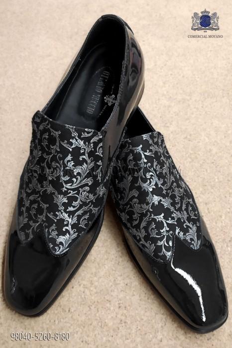 Black and silver jacquard fabric shoe