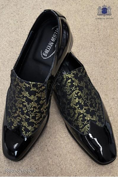Black and gold jacquard fabric shoe