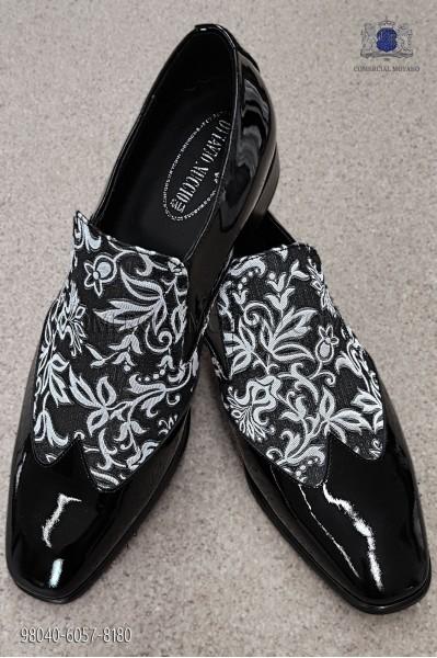 Zapatos barrocos negro con brocado negro-blanco 98040-6057-8180 Ottavio Nuccio Gala.