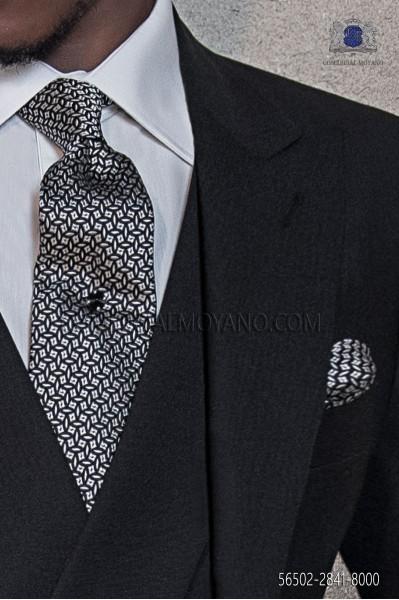 Black silk tie & handkerchief 56502-2841-8000 Ottavio Nuccio Gala.