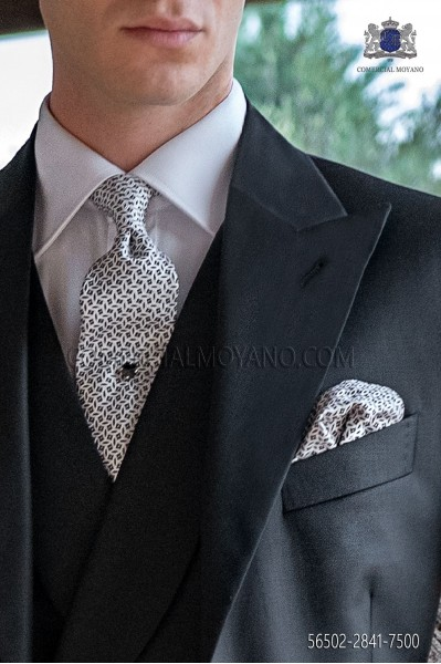 White-silver and black silk tie & handkerchief