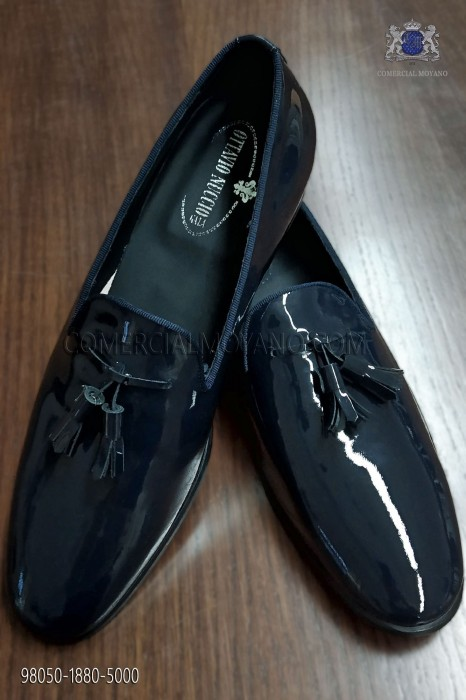 Blue patent leather shoes