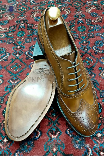 Zapato Oxford Blucher picado full brogue color brandy