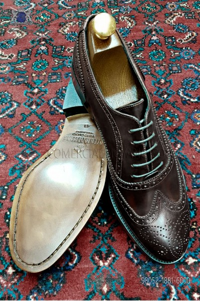 Zapato Oxford Blucher picado full brogue color coñac