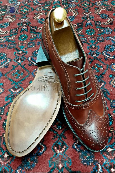 Zapato Oxford Blucher picado full brogue color marrón