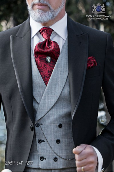 Red gray prince of wales groom double-breasted waistcoat