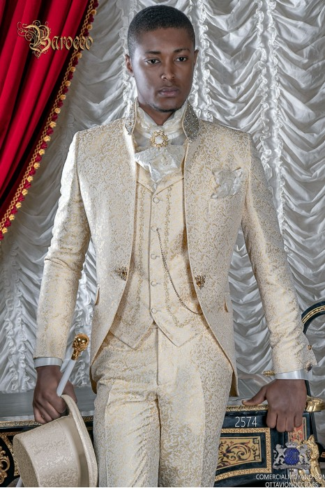 Ivory brocade baroque frock coat with golden crystal rhinestones on Mao collar