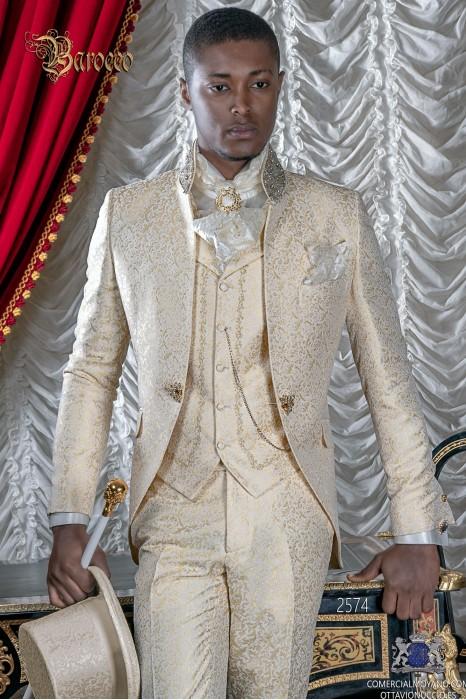 Ivory brocade baroque frock coat with golden crystal rhinestones on Mao collar