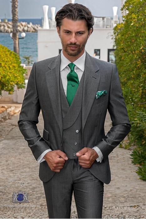 Bespoke grey men wedding suit mohair wool