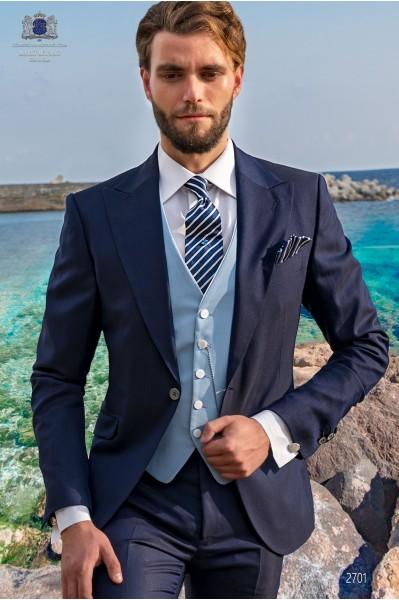 Royal blue men wedding suit italian slimfit