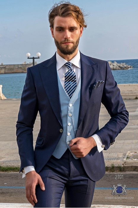 Royal blue men wedding suit italian slimfit