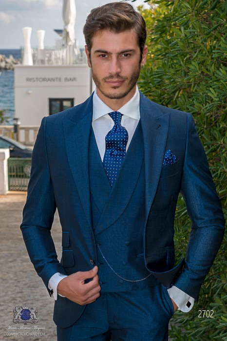 Bespoke royal blue men wedding suit italian slim fit