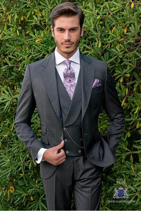 Gray men wedding suit italian bespoke slim fit