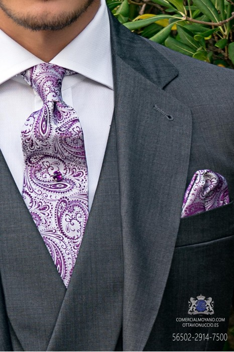 White and purple wedding tie cashmere design with matching handkerchief