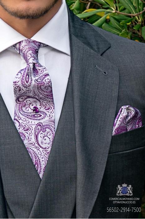 White and purple wedding tie cashmere design with matching handkerchief