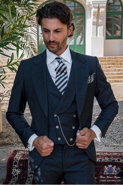 Classic Italian men wedding suit with elegant herringbone design