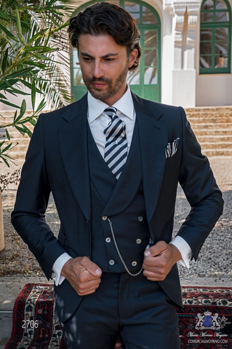 Classic Italian men wedding suit with elegant herringbone design
