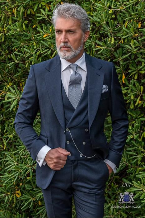 Classic blue wedding suit with elegant Italian cut slim fit