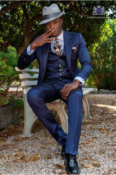 Royal blue wedding suit in elegant diplomatic stripe