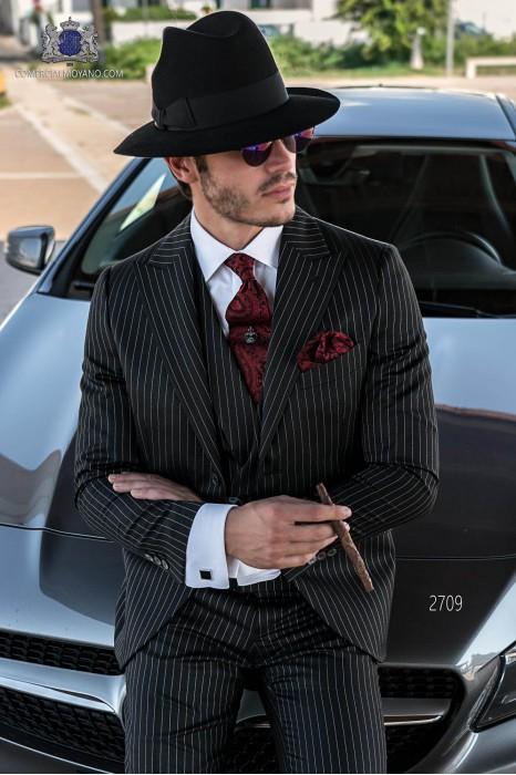 Black wedding suit in elegant diplomatic stripe