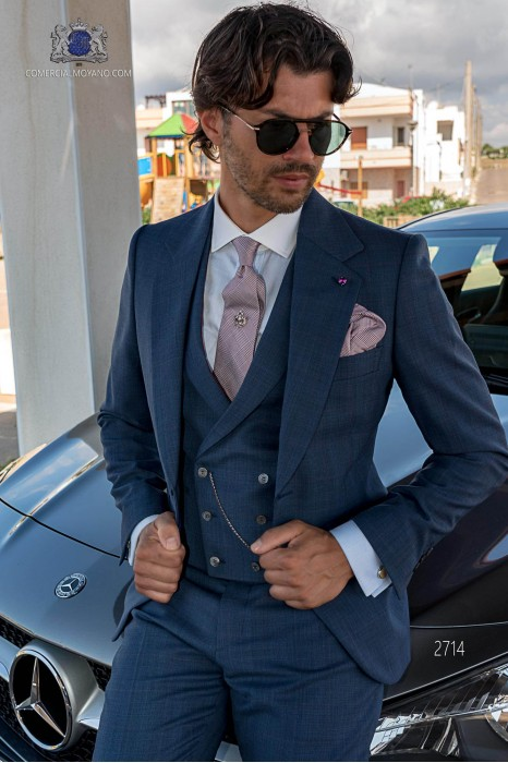 Blue wedding suit in elegant Prince of Wales with red stripe