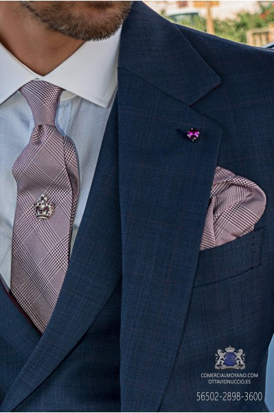 Groom tie with matching pocket square in gray wales prince with maroon stripes