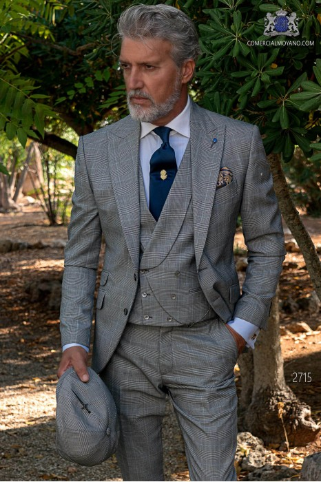 Gray wedding suit in elegant Prince of Wales with blue stripe