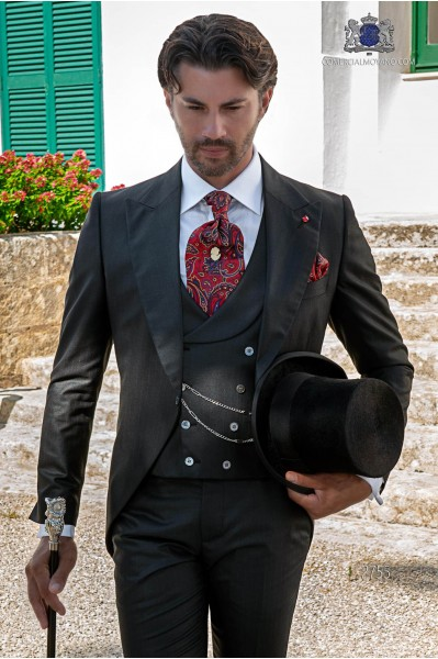 Black with red pinstripe tailored fit italian morning suit