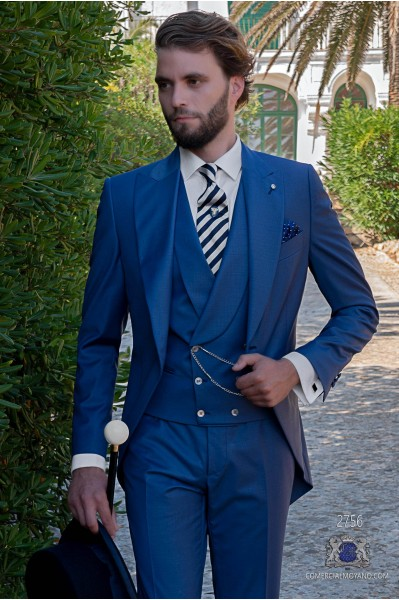 Royal blue tailored fit italian wedding morning suit