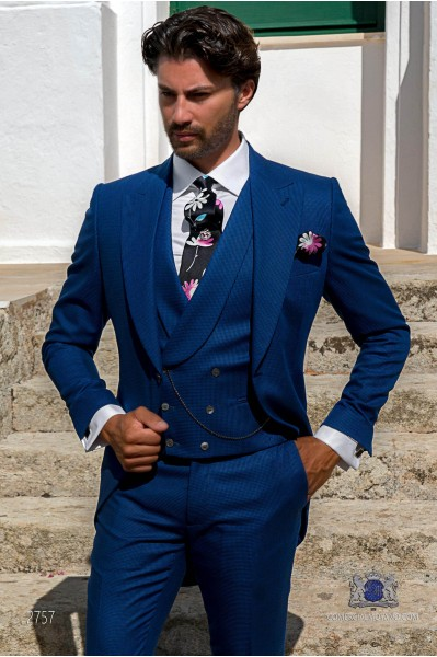 Royal blue houndstooth tailored fit italian wedding morning suit