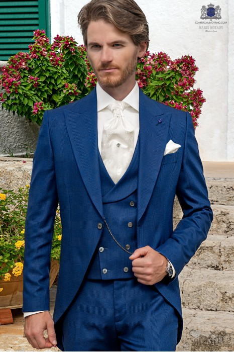 Royal blue prince of Wales check tailored fit italian morning suit
