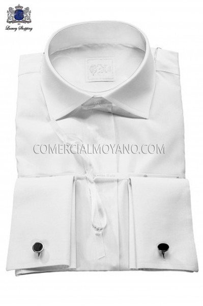 Shirt made from white cotton and satin blend