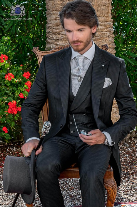 Charcoal with white pinstripe tailored fit italian morning suit