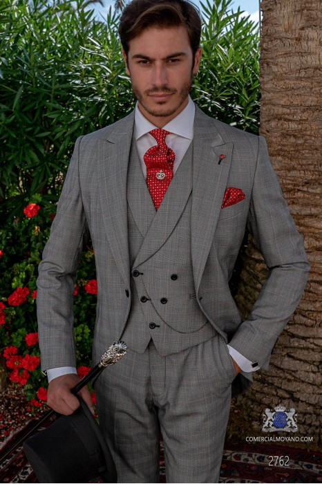 Grey & red prince of Wales check tailored fit italian morning suit