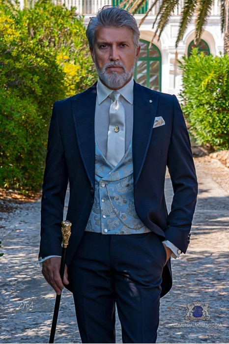 Dark blue italian tailored fit wedding morning suit