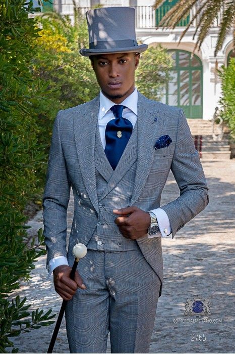 Grey & blue prince of Wales check tailored fit italian morning suit