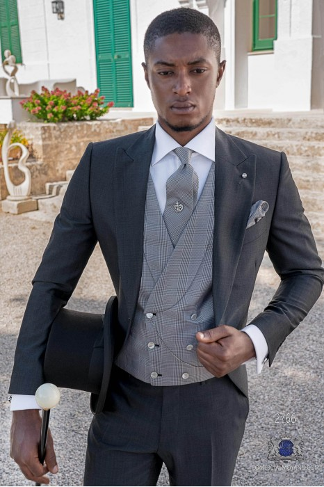 Grey mohair wool tailored fit italian morning suit