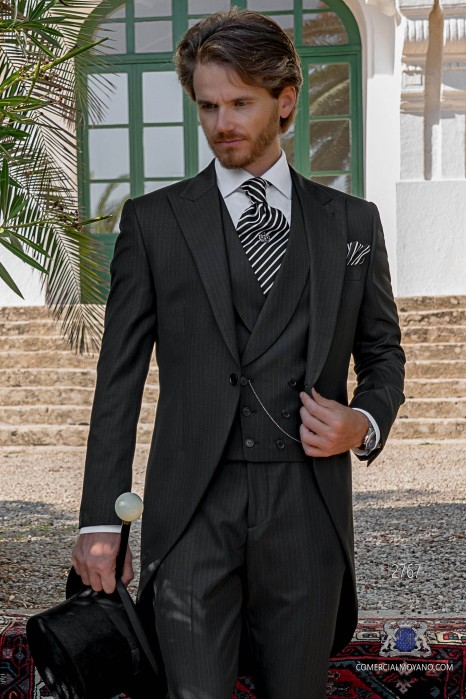 Charcoal formal pinstripe tailored fit italian morning suit