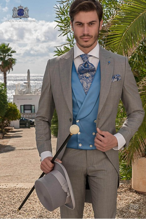 Light grey end-on-end wool blend tailored fit italian morning suit