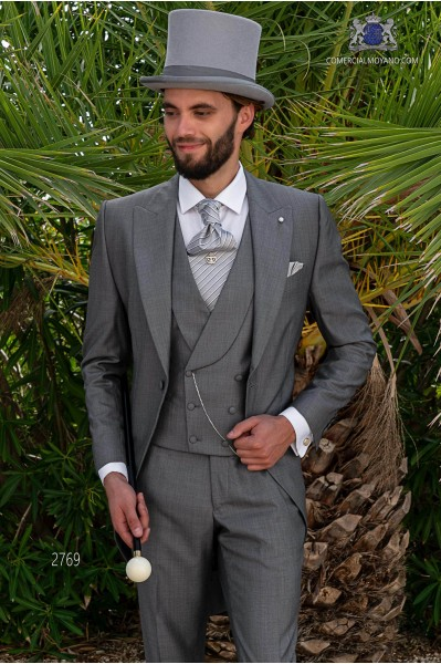 Light grey pure Silk blend wool extrafine tailored fit italian morning suit