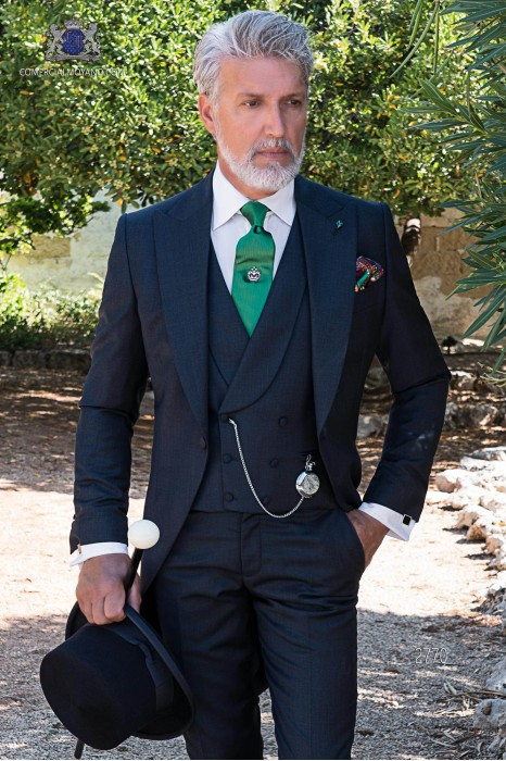 """Navy blue italian tailored fit wedding morning suit """"fil-à-fil"""" pure wool"""