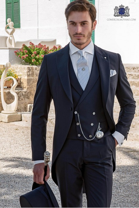 Blue italian tailored fit wedding morning suit